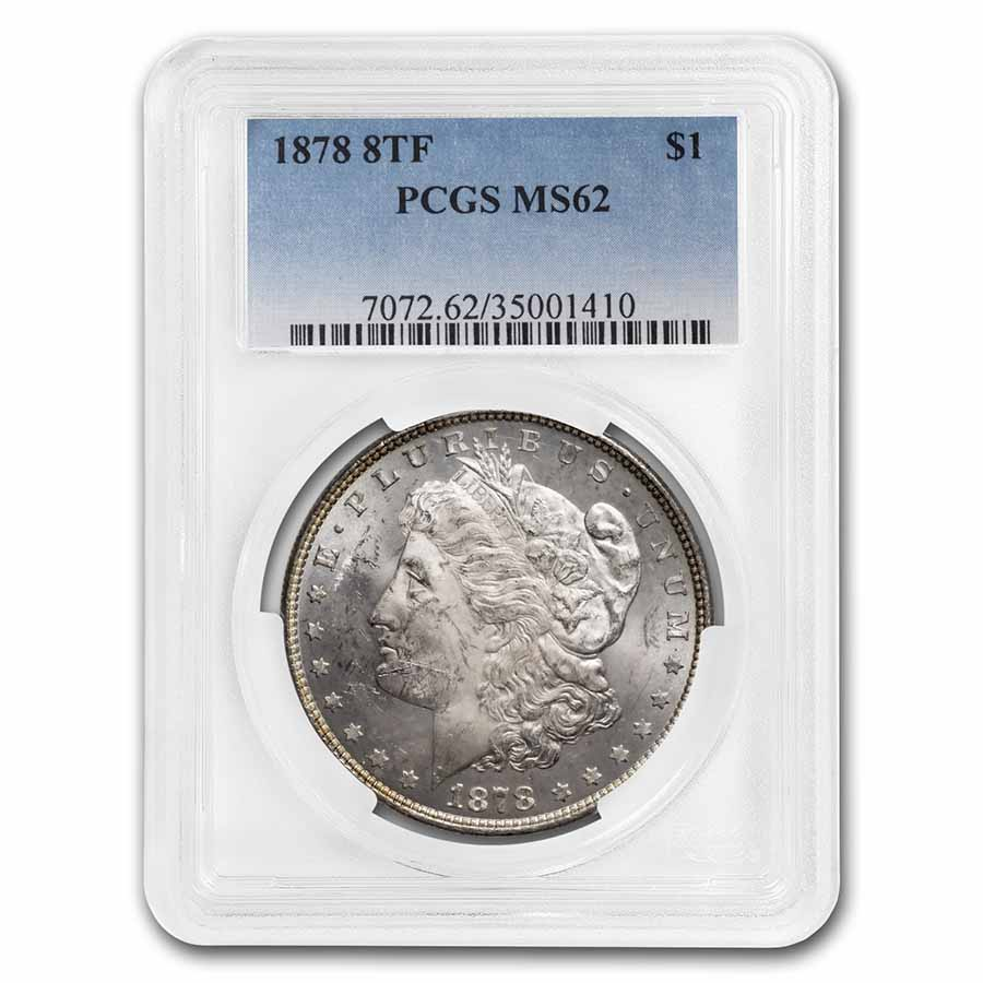 1878 Morgan Dollar - 8 Tailfeathers MS-62 PCGS